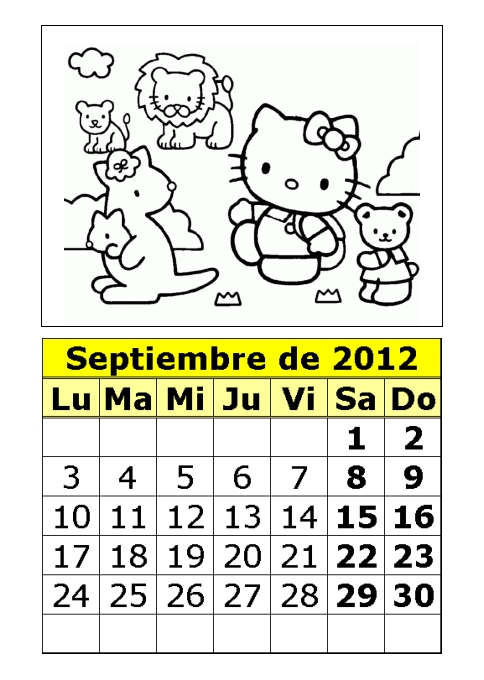Kitty Para Colorear Parte Calendarios Imprimir
