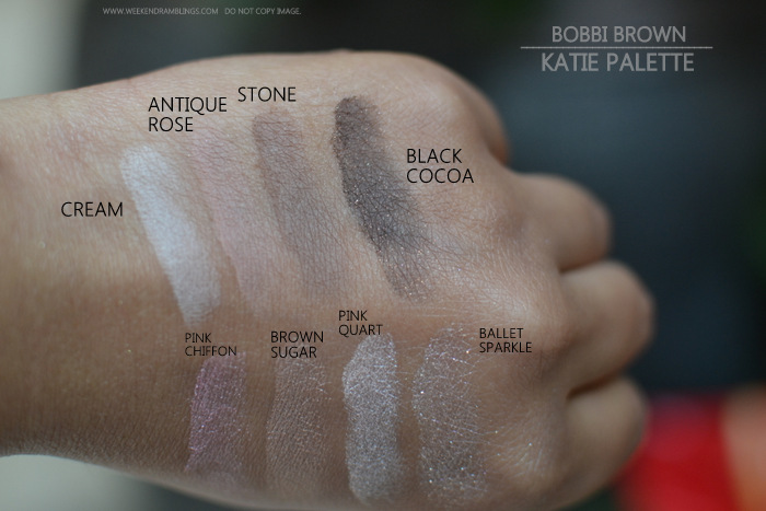Bobbi Brown Katie Makeup Collection Palette Eyeshadows Swatches Indian Darker Skin Beauty makeup blog Pink chiffon brown sugar quartz ballet sparkle cream antique rose stone black cocoa metallic