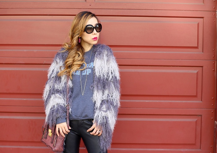 missguided cropped mixed hairy cardigan grey, rad dont wake me up sweatshirt, missguided gold plated block heel ankle boots black, 31phillip lim mini pashli bag, prada retro sunglasses, blank denim moto pants, gorjana necklace, Kendra scott earrings, san francisco, nyc blogger, black friday sale