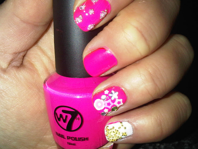 Neon Pink MAnicure With Jewels