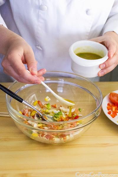 Ensalada de bogavante cocido - Receta paso a paso
