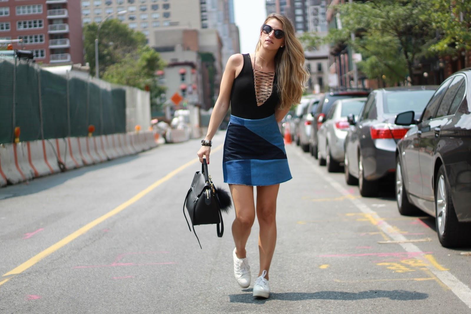 latice bodysuit, nyc street style 2015