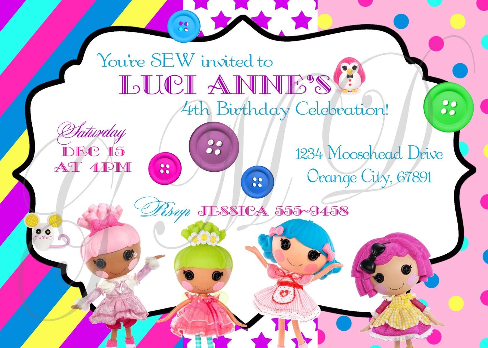 Girly Momma Designs Lalaloopsy Birthday Party Theme – Lalaloopsy Birthday Invitation