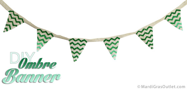 Completed Burlap Chevron Patterned Bunting- Tutorial by MardiGrasOutlet.com