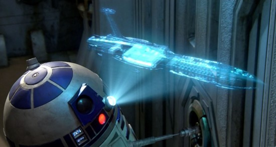 R2D2 with its holographic projection