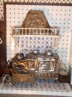 cocina en miniatura para casa de muñecas