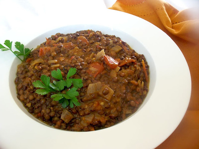 french lentil tomato harissa stew