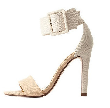 Charlotte Russe barely there nude and white high heeled sandals