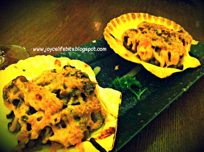 cheese baked scallop with mushrooms