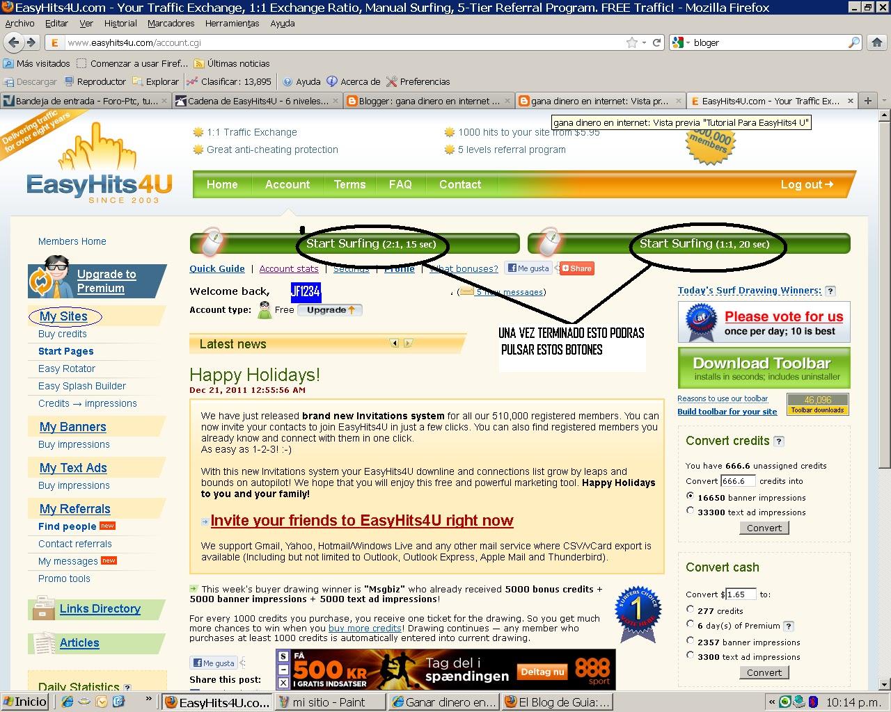 tutorial easyhits4u. publicidad gratis Mi+sitio++2