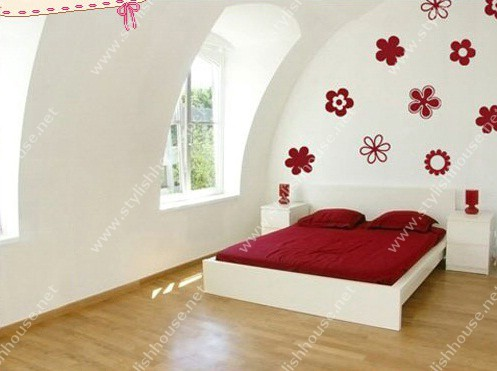 Red Flowers stickers for bedroom walls