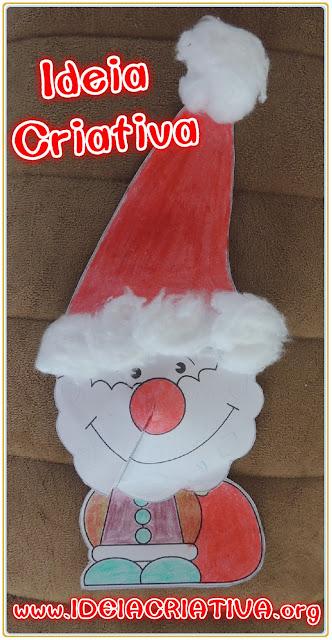 Papai Noel e Rena para Colorir, Recortar e Montar Super dica