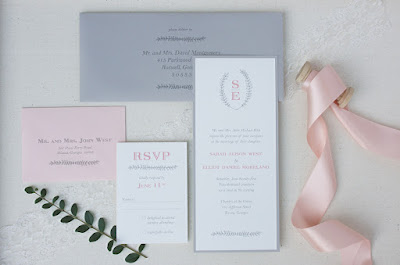 Grey and blush pink invitation