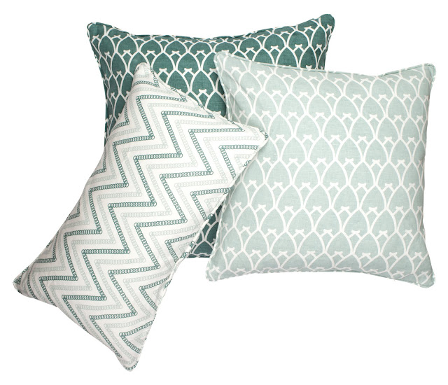 COCOCOZY Circle Chevron and COCOCOZY Arch Linen Pillows in Sea Foam and Sea Green