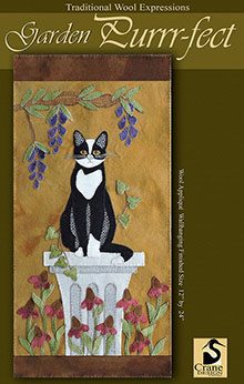 "Garden Purrr-fect Wool Applique Wallhanging 12"" x 24"""