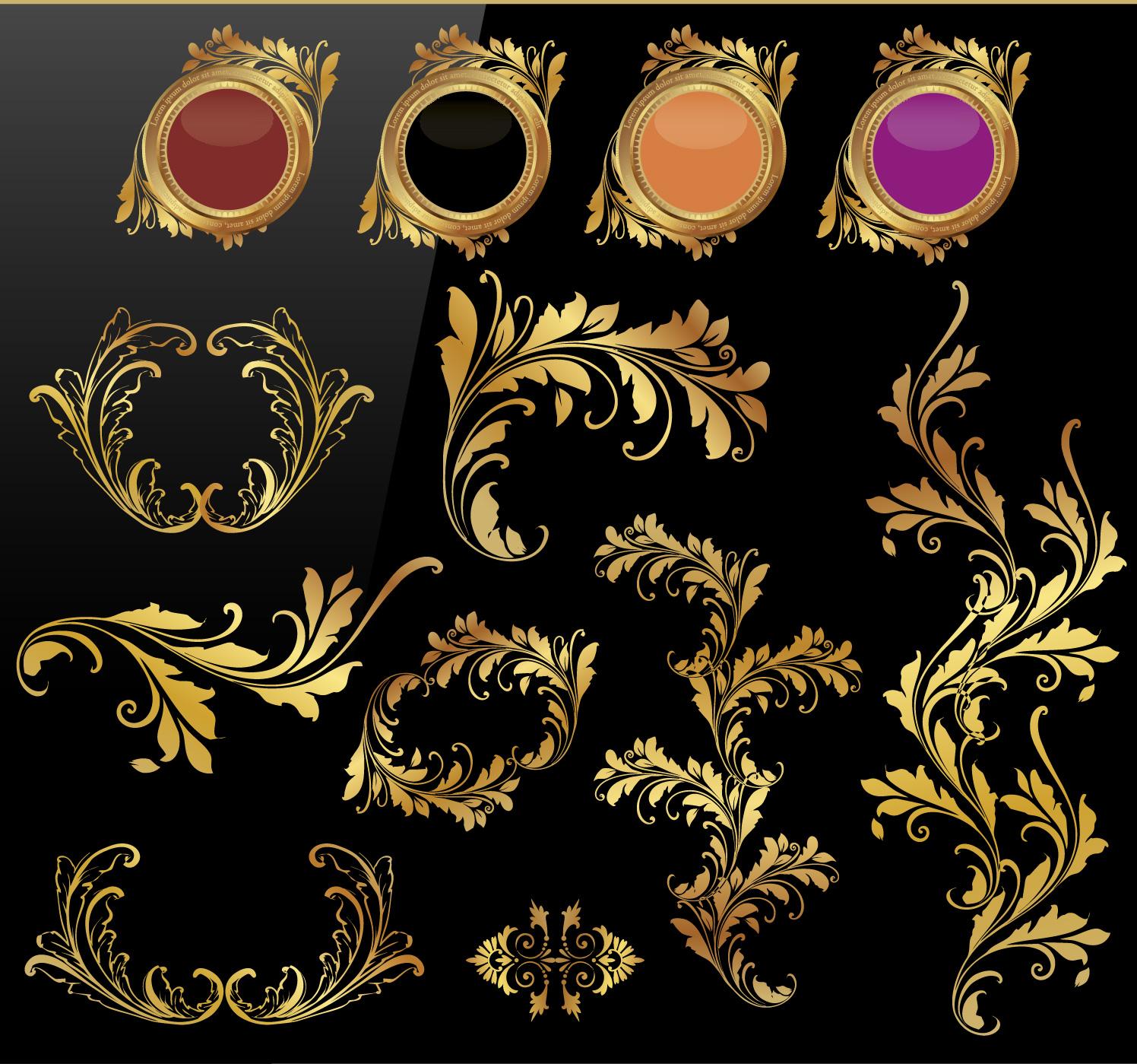 Art Design On Line : Vintage gold design free vector art