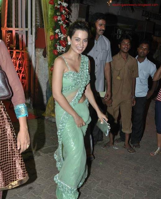 Actress Kangana Ranaut Saree Below Navel Show Photos