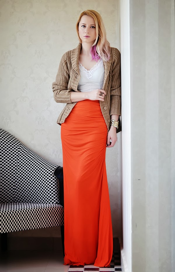 maxi skirt Mango camel knit sweater slip