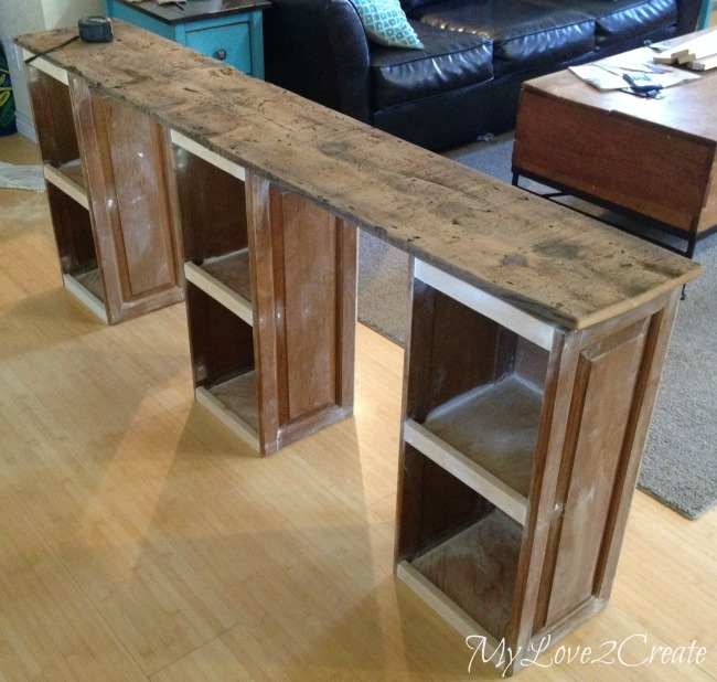 reclaimed barn wood for desk top