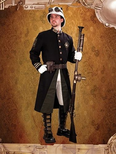 Black Steampunk Guard Coat for Men
