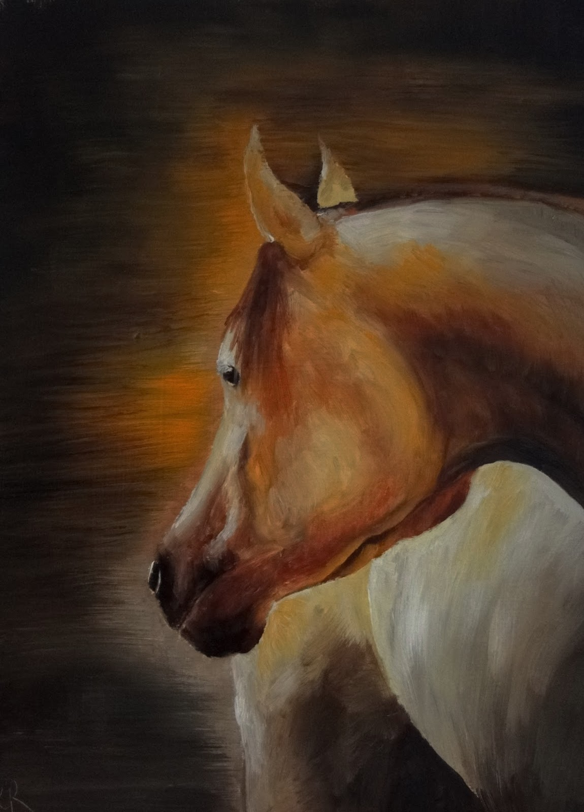 an oil painting, horse, looking behind, orange light