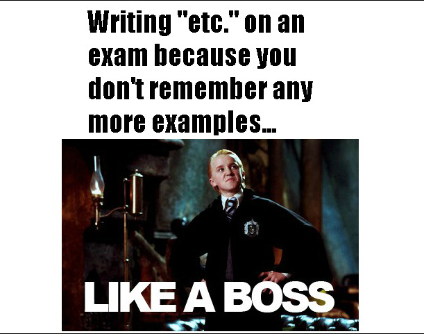 Writing Etc On An Exam Because You Don't Remember Any More Examples - Like A Boss