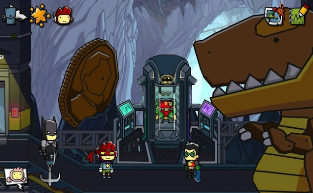 Batman, Maxwell, and Robin in the video game Scribblenauts Unmasked: A DC Comics Adventure