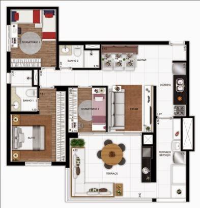 planta apartamento 3 dormitórios vergueiro