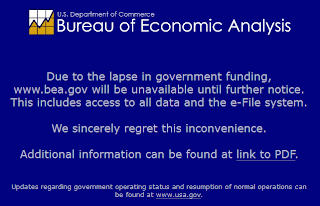 Screen shot of BEA.gov web site, 15 October 2013