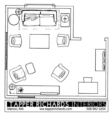 Tapper richards interiors floor plan friday l shaped for Living room furniture plan