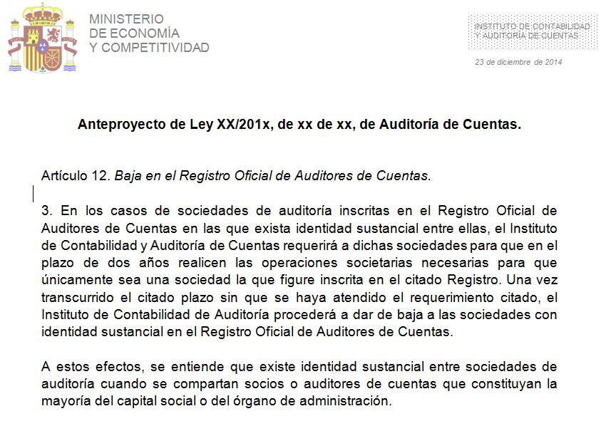 Anteproyecto Ley Auditoría de Cuentas