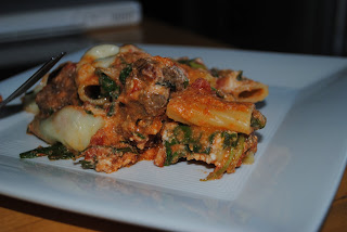Tyler 39 s taste tests recipe swap baked rigatoni with for Baked pasta with meatballs and spinach