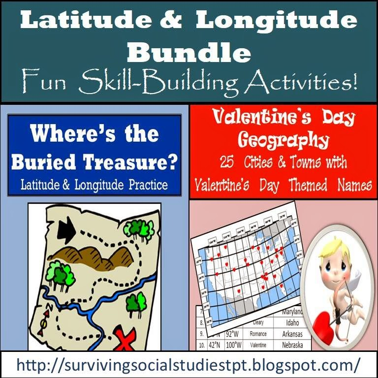 https://www.teacherspayteachers.com/Product/Latitude-and-Longitude-Bundle-10-Buried-Treasures-Valentines-Day-Geography-1650714