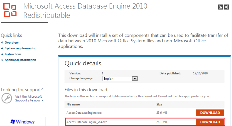 Download Microsoft Access Database Engine 2016 ...