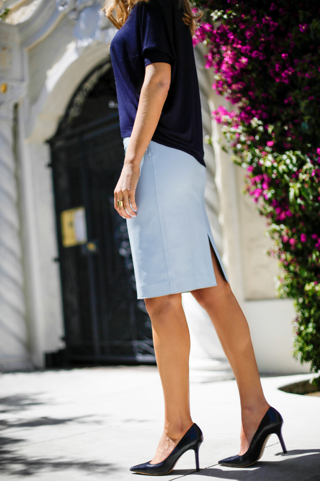 Baby Blue Leather Skirt