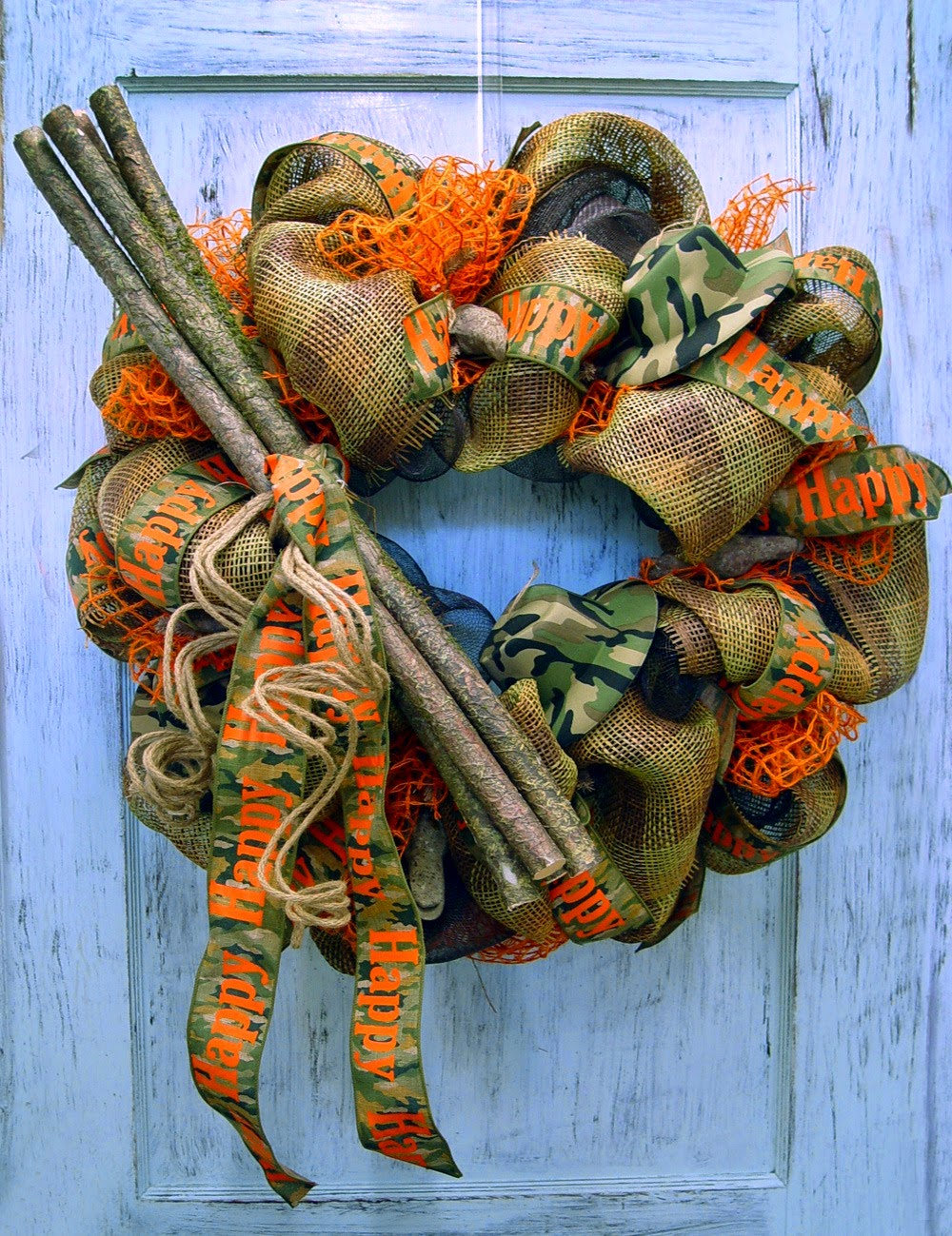 Camo Wreath using RAZ Twig Bundle