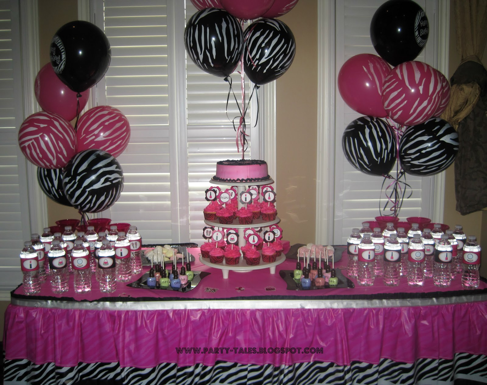 Party tales birthday party zebra print and hot pink for Animal print party decoration ideas