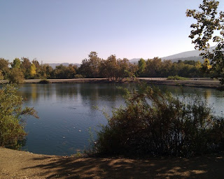 Pond with ducks, clear blue sky, and distant hills.