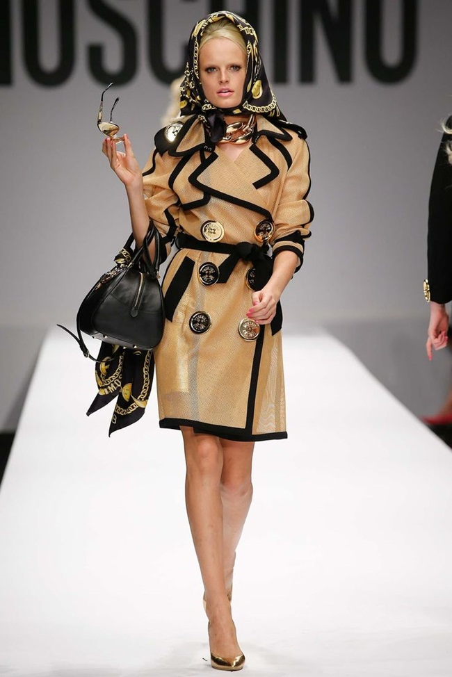 Moschino 2015 SS Golden Mesh Trench Coat on Runway