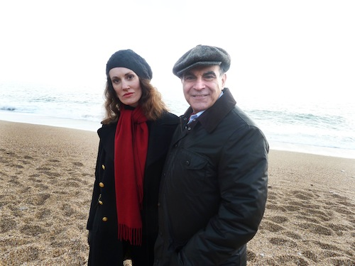 David Suchet and Agatha Christie biographer Laura Thompson against the backdrop of Blackpool Sands, one of Agatha Christie's favourite beauty spots. ITV