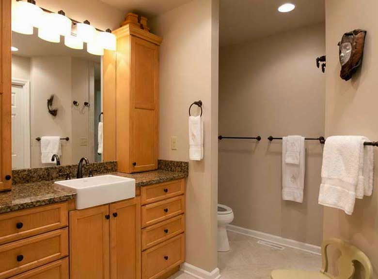 Dry bathroom remodel ideas with cream paint color for Redo bathroom ideas