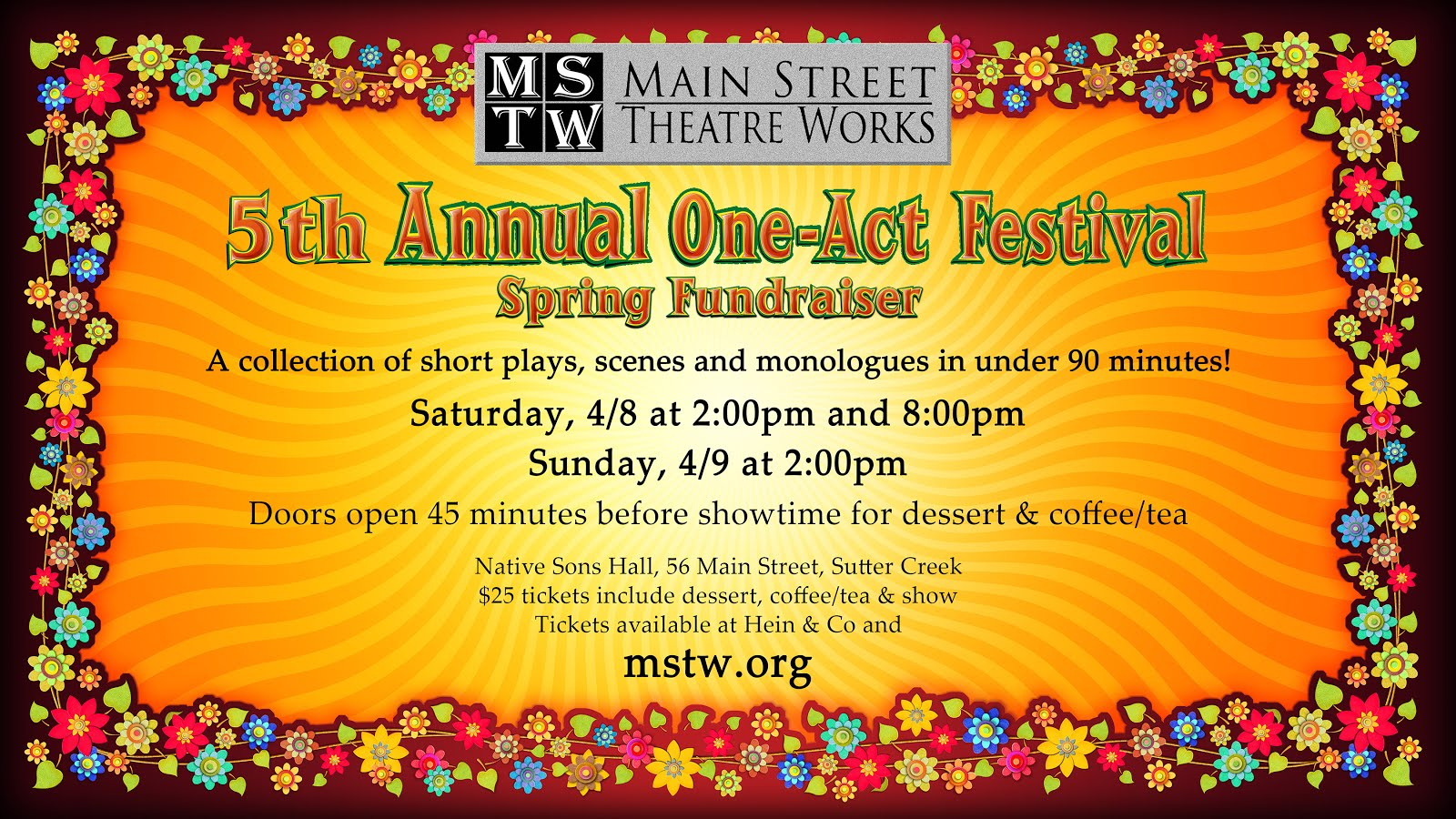MSTW's 5th Annual One-Act Festival - April 8 & 9