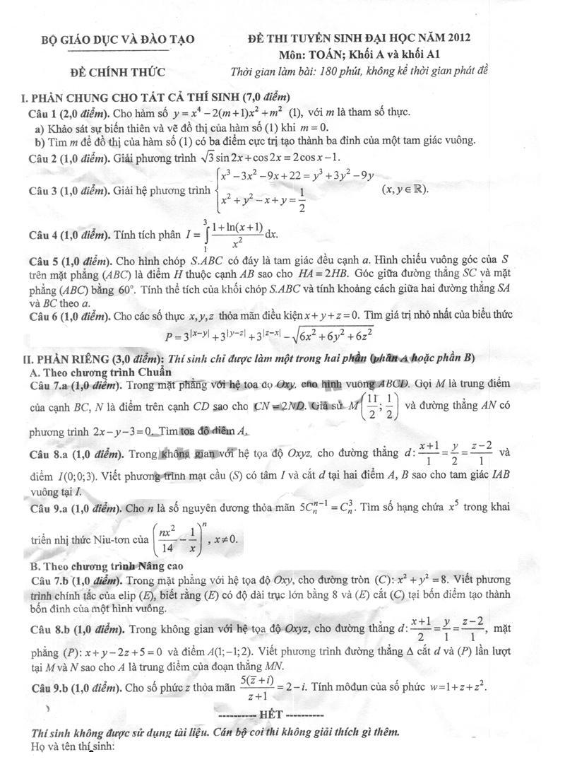 đề thi đại học môn toán khối a năm 2012