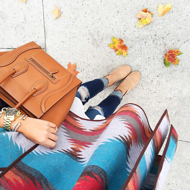 Colorful poncho for fall