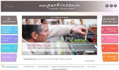 écran d'accueil de monparkinson_fr site de novartis pharma