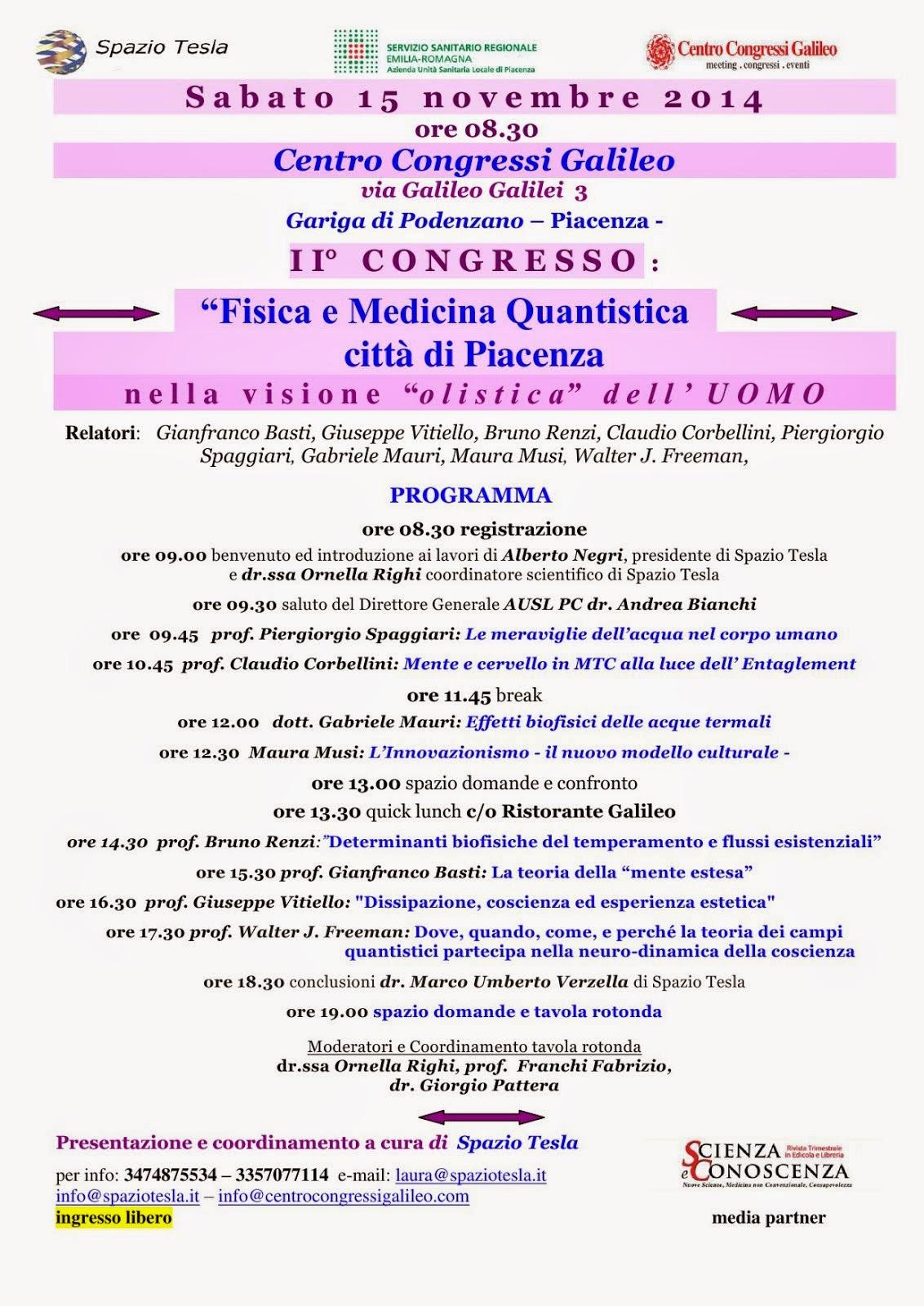 """I I° C O N G R E S S O :  """"Fisica e Medicina Quantistica  città di Piacenza"""