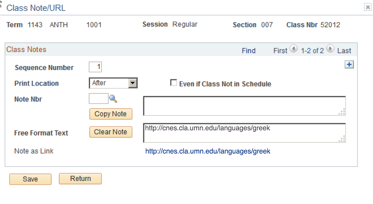 View of the page where the course/class URL can be entered by faculty and instructors