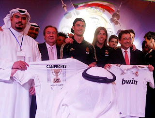 Cristiano Ronaldo attends a meeting in Kuwait with Real Madrid fans