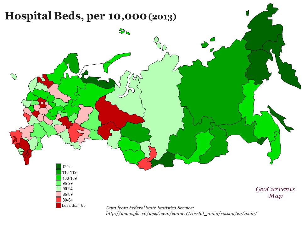 Hospital beds, per 10,000