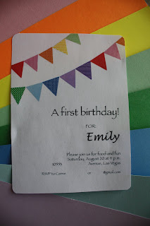 first birthday invitation rainbow pennant banner
